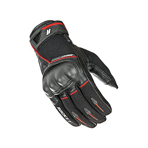 Joe Rocket Supermoto Mens Street Motorcycle Leather Gloves - Black/Red/Large