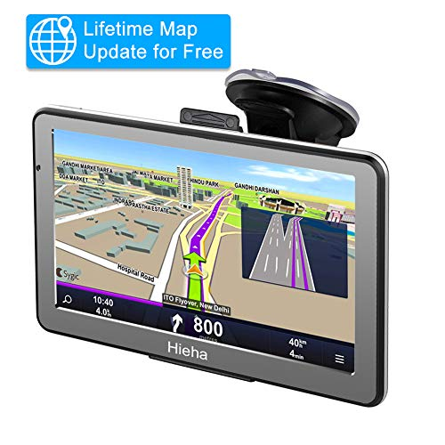 Hieha 7 Inches Navigation System for Car Truck RV Vehicles with Pre-Loaded US/CA/MX Maps, 8GB 256Mb Touch Screen GPS Navigation Device with Car Bracket Holder, Lifetime Free Map Updates (Best Rv Gps 2019)