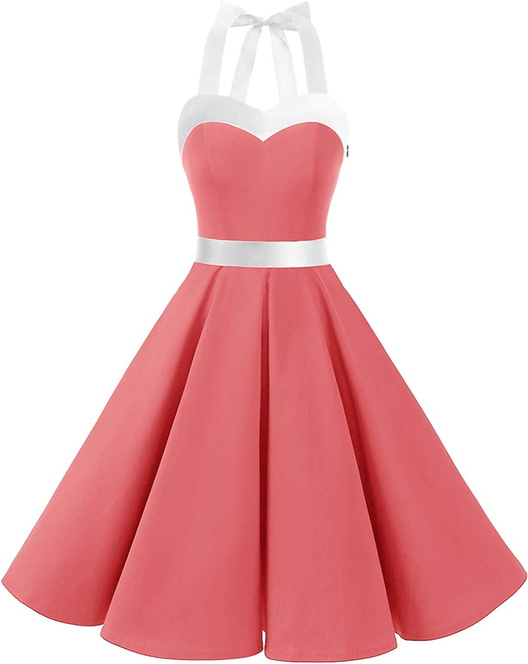 TALLA XS. DRESSTELLS® Halter 50s Rockabilly Polka Dots Audrey Dress Retro Cocktail Dress Coral White XS