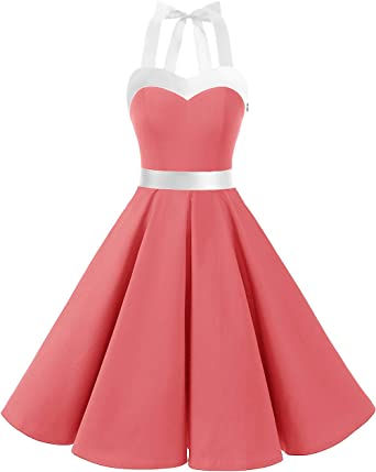 TALLA L. DRESSTELLS® Halter 50s Rockabilly Polka Dots Audrey Dress Retro Cocktail Dress Coral White