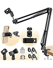 CAHAYA Microphone Stand Suspension Boom Scissor Arm Stand with 2 Mic Clips