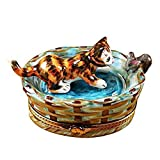 CAT IN BASKET W/MOUSE - LIMOGES PORCELAIN FIGURINE BOXES AUTHENTIC IMPORTS