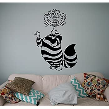 Cheshire Cat Vinyl Decal Alice in Wonderland Wall Sticker Cartoons Home Interior Children Kids Room Decor 24(aiw)
