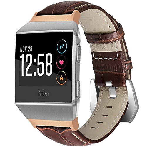 SKYLET Compatible with Fitbit Ionic Bands, Classic Genuine Leather Replacement Strap with Metal Buckle Compatible with Fitbit Ionic Smart Watch Wristbands (Watch Not Included)