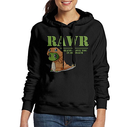 Women's RAWR Means I Love You In Dinosaur Pullover Casual Hoodie X-Large