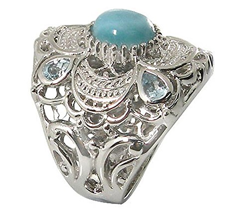 Sterling Silver Filigree Ring with Round Larimar and Pear Shaped Sky Blue Topaz Stones (BTS-NRB4934/LR/SBT/R) - Size 11.75 (Larimar Pear Ring)