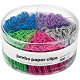 """1InTheOffice Jumbo Paper Clip, Vinyl Coated Smooth Large Paper Clips""""500 Pieces"""" (Assorted Brights)"""
