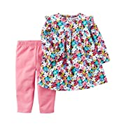Carter's Girls' Infant and Toddler 2-Piece Long Sleeve Dress With Leggings (Pink Flowers, 6 Months)