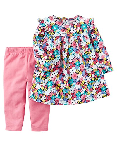Carter's Girls' Infant and Toddler 2-Piece Long Sleeve Dress With Leggings (Pink Flowers, 18 Months) (Play Dress Leggings)