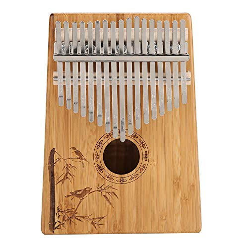 Thumb Piano, 17 Keys Kalimba Bamboo Finger Thumb Piano Musical Instrument Gift with Carry Bag Tone ()