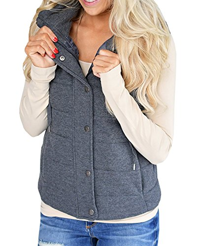 Inorin Womens Sleeveless Hooded Button Up Fleece Sweater Coat Zip Up Jacket Vest (Womens Quilted Button)