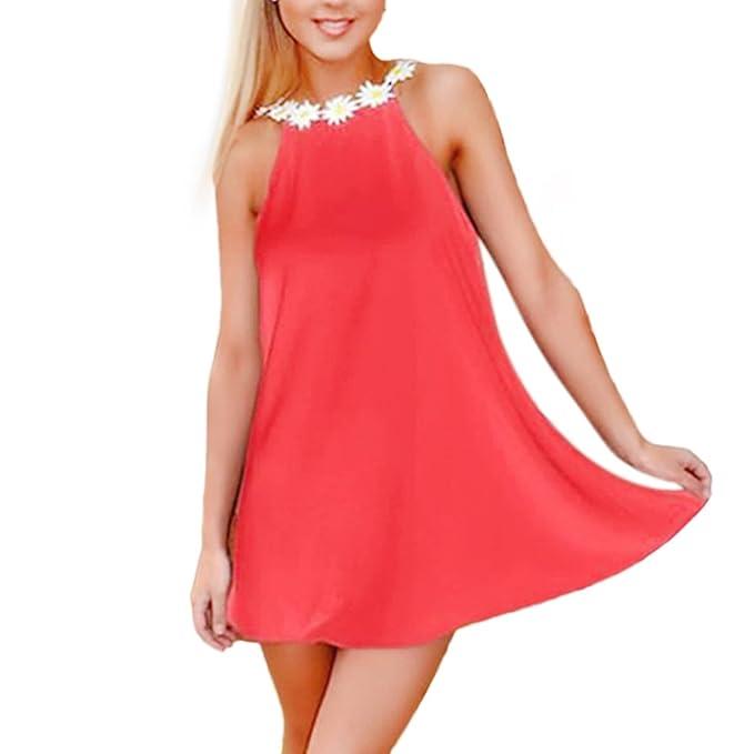 mioim Mujer Ropa Casual espalda descubierta Fiesta Vestido Mini vestido flores Tirantes Verano Vestido Vestido de