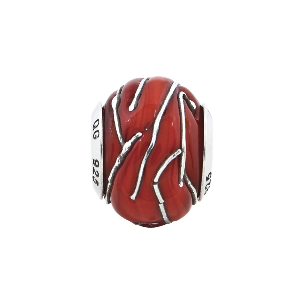 10mm x 12.7mm Jewel Tie 925 Sterling Silver Reflections Red//Silver Striped Italian Murano Bead
