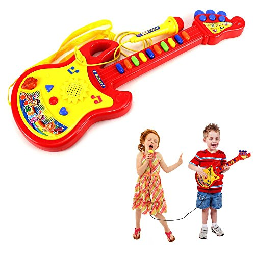 Toy Cubby Sing Along Battery Operated Guitar Instrument and Microphone Playset – Rockstar Gift Idea for Kids, Birthday Parties, Holidays and More – for Beginners - Pretend Play by Toy Cubby