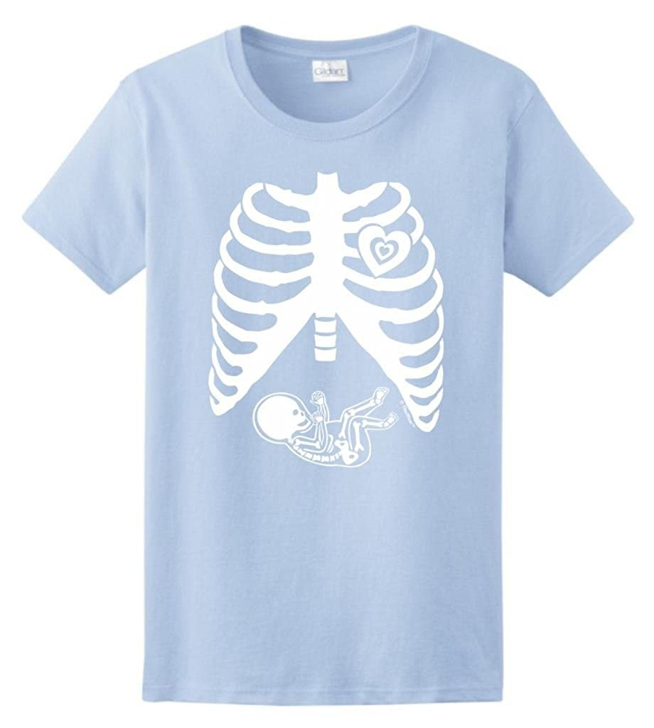 599538c6 Amazon.com: ThisWear Pregnant Skeleton Baby Maternity Themed Costume Ladies  T-Shirt: Clothing
