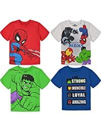 Super Hero Adventures Boys 4 Pack T-Shirts Avengers Hulk Spiderman