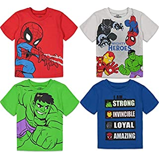 Marvel Super Hero Adventures Boys 4 Pack T-Shirts Avengers Hulk Spiderman