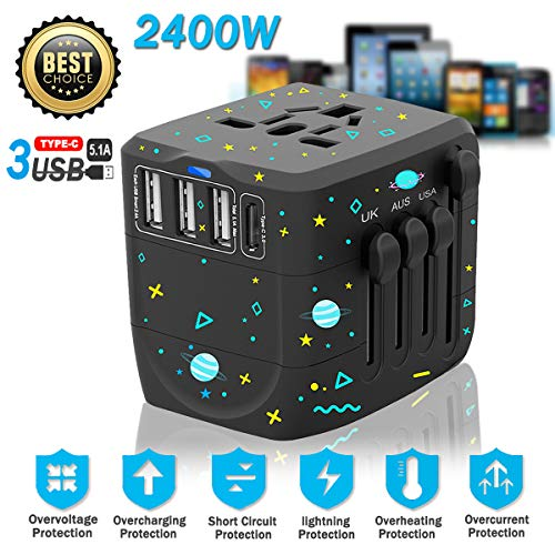 Travel Adapter, 2400W International All in One Universal Travel Power Plug Adapter, Travel Charger with 1 Type-C / 3 USB…
