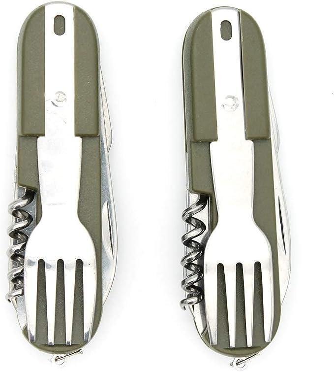 V GEBY Outdoor Spork Spoon Fork Set Camping Titanium Cutlery Travel Functional Eating Multi-Tool Utensil