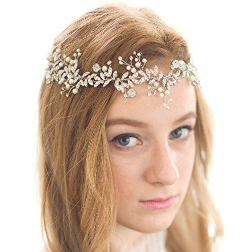 FAYBOX Handmade Crystal Rhinestones Wedding Head Band Bridal Hair Accessorie Headpieces Gold]()