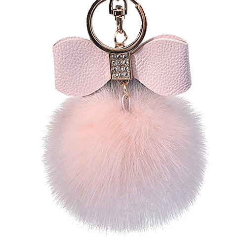 Diamond Rabbit Fur Ball Fox Bowknot Keychain Bag Plush Car Key Ring Pendant 10cmfor Motorcycles,Scooters,Car and Gifts