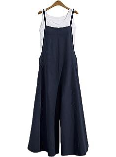 59b616e44683a0 Carolilly Damen Ärmellos Jumpsuit Große Größen Sommer Hosenanzug Breites  Bein Overalls mit Taschen (L-