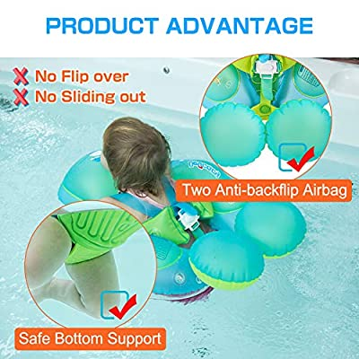 Delicacy Upgraded Version Baby Pool Float,Baby Inflatable Swimming Floats Ring with Safety Bottom Support and Swim Buoy,Suitable for 6-30 Months (Size L,Blue): Toys & Games