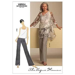 Vogue Patterns V8504 - Patrones de costura para camisetas sin mangas, blusas y pantalones de mujer (talla BB: 38-44)