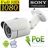 USG IP Network 2MP 1080P Bullet Security Camera Sony Premium DSP 3.6mm Wide Angle HD Lens Weatherproof 30x IR LEDs ONVIF, DK8 Power Over Ethernet Cloud