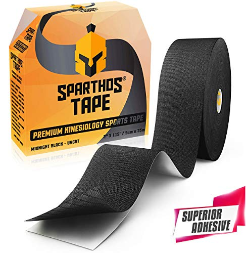 Spartan Tape Kinesiology Tape - Bulk Large Clinical Jumbo - Free Kinesio Taping Guide! K Support for Pro Athletic Kt Sports and Recovery - Rocktape Rock Ktape Kinesiotape - Uncut 115 ft Roll (Black)