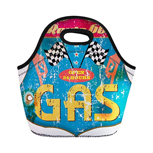 - Semtomn Neoprene Lunch Tote Bag Car Vintage Gas Station Sign Classic Gasoline Badge Product Reusable Cooler Bags Insulated Thermal Picnic Handbag for Travel,School,Outdoors,Work