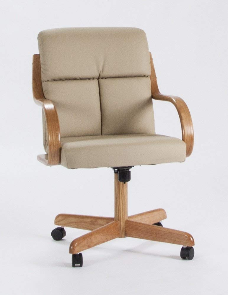 Casual Rolling Caster Dining Chair with Swivel Tilt in Oak Wood with Bonded Leather Seat and Back Set of 2