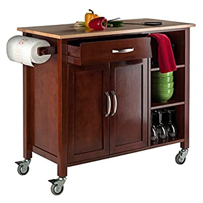 Winsome Wood Walnut/Natural Mabel Kitchen Cart