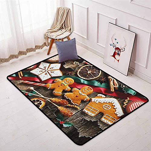 Gingerbread Man Multifunction Delicious Homemade Cookies Dried Fruits and Bakery Tools Festive Rustic Non-Sliding Indoor Carpet W31.5 x L59 Inch Multicolor
