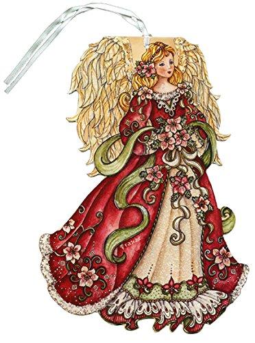 Ornaments Christmas Card (Red Angel Glitter Keepsake Ornament - LPG Box of 12 Christmas Cards)