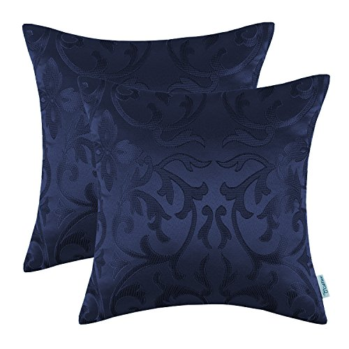 Pack of 2 CaliTime Throw Pillow Covers Cases for Couch Sofa Home Decor, Vintage Floral Both Sides, 20 X 20 Inches, (Navy Blue Toss Pillow)