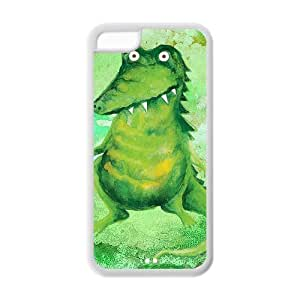 5C Case, iPhone 5C Case - Fashion Style New Crocodile,Alligator,Cayman Painted Pattern TPU Soft Cover Case for iPhone 5C (Black/white)