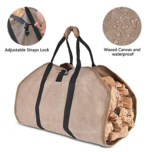 Xtingmeme Waxed Canvas Log Carrier, Durable Firewood,Fireplace Tote Bag, Waterproof, Washable Heavy Holder with Handle and Adjustable Strap(39inches x 18inches)