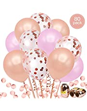 aovowog 80 Pack Rose Gold Balloon Set Including 20pcs Confetti Balloons 30pcs Rose Gold Balloon 30 Pink Balloons with 3 Balloon Ribbons for Birthday, Wedding Party Decorations