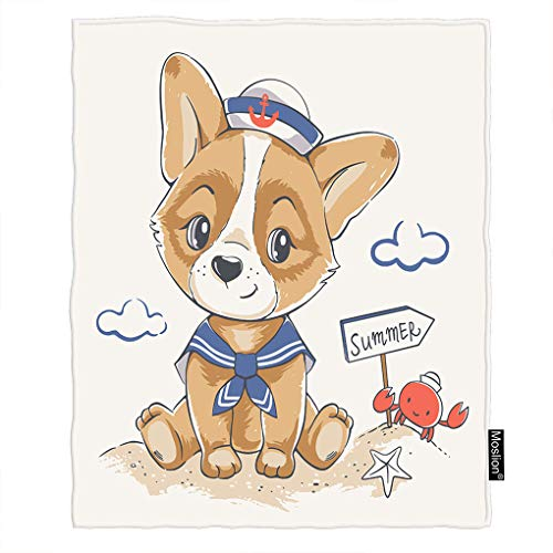 Moslion Dog Blanket Cute Puppy in Navy Blue Sailor Anchor Hat On Beach with Crab Starfish Throw Blanket Flannel Home Decorative Soft Cozy Blankets 40x50 Inch for Baby Kids -