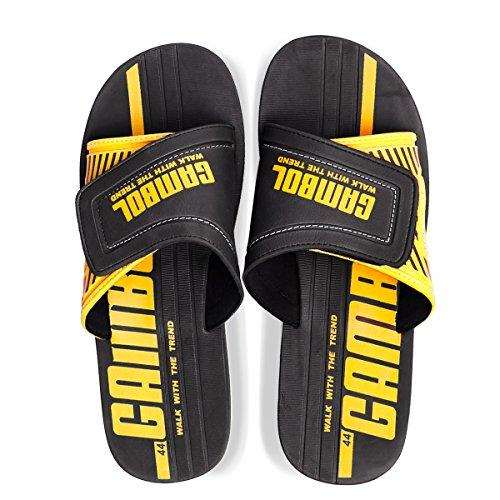 GAMBOL Mens Sandals Shoes - ZAH Style Black & Yellow Kr5SgfnUT