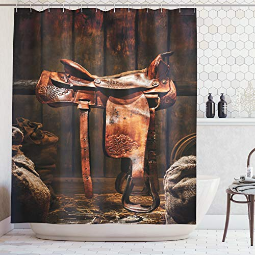(Ambesonne Western Decor Collection, Rodeo Cowboy Leather Western Saddle on Wood Beam in Rustic Ranch Wood Barn Picture, Polyester Fabric Bathroom Shower Curtain Set, 75 Inches Long, Brown)