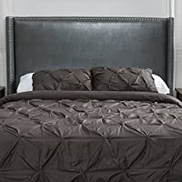 Mi Amor Honeycomb King/California King Wingback Fabric Headboard (Dark Grey Leather)