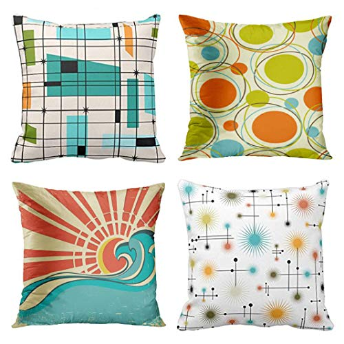 Emvency Set of 4 Throw Pillow Covers Mid Retro Century Teal Grid Orange Colorful 1950S Abstract 1960S Decorative Pillow Cases Home Decor Square 16x16 Inches Pillowcases
