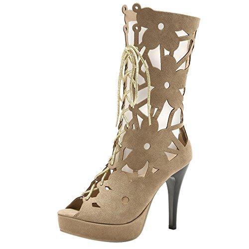 Peep Taoffen Lacets Chaussures Toe Talon Gladiateur Femmes Apricot À D'été Aiguille Bottines 6wErOFKqw