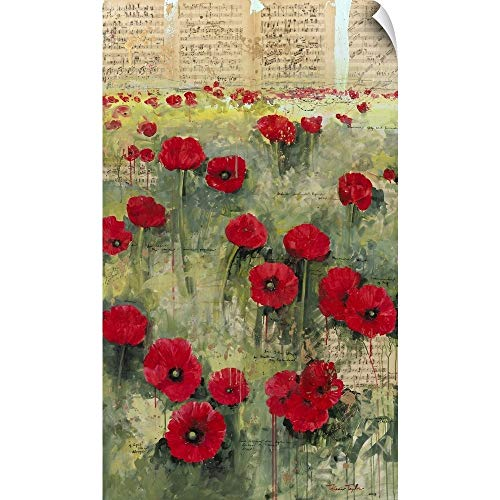 "CANVAS ON DEMAND Symphony Red Poppies Wall Peel Art Print, 21""x36"""