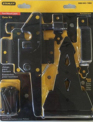Stanley Post Mount Latch Gate Kit Heavy Duty S802-553 / V864 Black Coat Finished by (Post Mount Gate Latch)