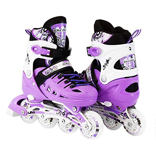Scale Sports Kids Adjustable Inline Roller Blade Skates Purple Large Sizes for Ladies Teens Safe Durable Outdoor Featuring Illuminating Front Wheels 905