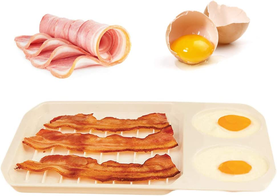 Gurxi Easy Eggs Bacon Tray Bacon Rack Tools Bacon Egg Tools Tray Breakfast Egg Bacon Tray Oven Bacon Tray Bacon Rack Microwave Breakfast Bacon Dish for Making Nutritious Breakfast White