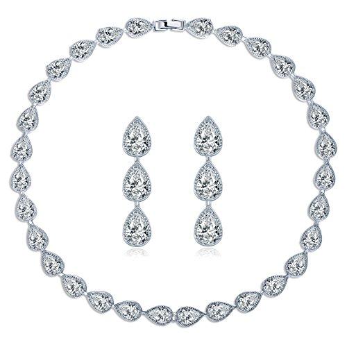 MASOP Water Drop Crystal Statement Choker Necklace Earrings Sets for Women Wedding Jewelry ()